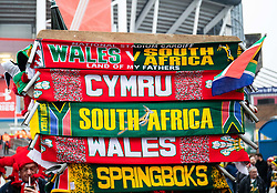 Scarves for sale outside of the stadium <br /> <br /> Photographer Simon King/Replay Images<br /> <br /> Under Armour Series - Wales v South Africa - Saturday 24th November 2018 - Principality Stadium - Cardiff<br /> <br /> World Copyright © Replay Images . All rights reserved. info@replayimages.co.uk - http://replayimages.co.uk