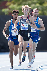 August 12, 2018 - Toronto, ON, U.S. - TORONTO, ON - AUGUST 12: Charles Philibert-Thiboutot (Canada), bronze in the 1500m at the 2018 North America, Central America, and Caribbean Athletics Association (NACAC) Track and Field Championships on August 12, 2018 held at Varsity Stadium, Toronto, Canada. (Photo by Sean Burges / Icon Sportswire) (Credit Image: © Sean Burges/Icon SMI via ZUMA Press)
