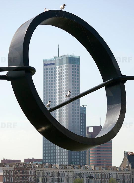 Nederland Rotterdam 9 juli 2010 20100709 Stadsgezicht Kop van Zuid / Noordereiland. Op de voorgrond zitten meeuwen in een stalen kunstwerk, een lijn met daaraan een circelvormig object. Op de achtergrond  appartementen op het Noordereiland en o.a. hoogbouw nieuwbouw het hoogste kantoorgebouw van Nederland De Maastoren op de Kop van Zuid. , the sky is the limit, toren, torens, tower, uitbreidingsgebieden, urban landscape, urbanisatie, urbanisering, urbanisme, urbanistisch, urbanistische, vastgoed, vernieuwing, vernieuwing stedelijk, vogel, vogels, vrij, wolkenkrabber, wolkenkrabbers, woningaanbod, woningblok, woningblokken, woonblok, woonblokken, zonnig weer, stedenbouw, stedenbouwkunde, stedenbouwkundig, stedenbouwkundige, steeds, steedse, stilleven, straatbeeld, straatgezicht, street scenery, streetscene, sunshine, the netherlands  Foto: David Rozing