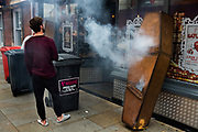 Smoking coffin being tested for a halloween club night, 28th October 2016, Ipswich High Street.