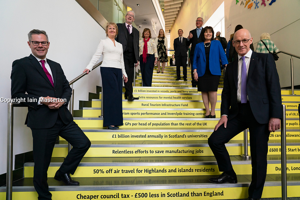 Edinburgh, Scotland, UK. 28 April, 2019. Day 2 of thee SNP ( Scottish National Party) Spring Conference takes place at the EICC ( Edinburgh International Conference Centre) in Edinburgh. Pictured; SNP Government Cabinet Ministers group photo on stairs of the EICC