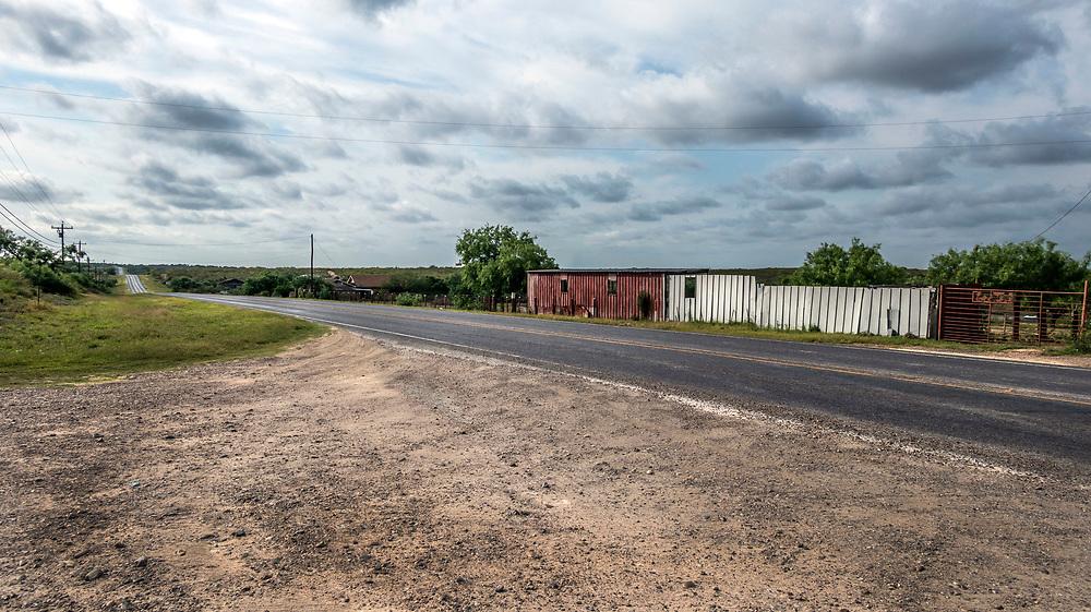 Abandoned roadside cafe. Rural landscape, Zapata County, Texas, USA