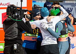 Robert Kranjec of Slovenia celebrates with third placed team of Slovenia: Domen Prevc (SLO), Anze Semenic (SLO), Peter Prevc (SLO) and Timi Zajc (SLO) during the Ski Flying Hill Team Competition at Day 3 of FIS Ski Jumping World Cup Final 2019, on March 23, 2019 in Planica, Slovenia. Photo by Vid Ponikvar / Sportida