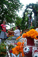 """MEXICO, Veracruz, Tantoyuca, Oct 27- Nov 4, 2009. Secondary school students contribute to the altars in Tantoyuca's """"Plaza Constitucion."""" """"Xantolo,"""" the Nahuatl word for """"Santos,"""" or holy, marks a week-long period during which the whole Huasteca region of northern Veracruz state prepares for """"Dia de los Muertos,"""" the Day of the Dead. For children on the nights of October 31st and adults on November 1st, there is costumed dancing in the streets, and a carnival atmosphere, while Mexican families also honor the yearly return of the souls of their relatives at home and in the graveyards, with flower-bedecked altars and the foods their loved ones preferred in life. Photographs for HOY by Jay Dunn."""