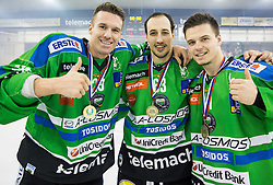 Anze Ropret of Olimpija, Nardo Nagtzaam of Olimpija and Aljaz Uduc of Olimpija celebrate after they became Slovenian National Champion 2016 after winning during ice hockey match between HDD Telemach Olimpija and HDD SIJ Acroni Jesenice in Final of Slovenian League 2015/16, on April 11, 2016 in Hala Tivoli, Ljubljana, Slovenia. Photo by Vid Ponikvar / Sportida