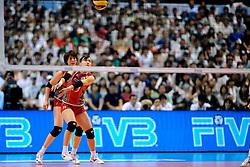 23-08-2009 VOLLEYBAL: WGP FINALS JAPAN - BRAZILIE: TOKYO <br /> Brazilie wint met 3-1 van Japan en zijn de winnaar van de Grand Prix 2009 / Kanari HAMAGUCHI en Megumi KURIHARA<br /> ©2009-WWW.FOTOHOOGENDOORN.NL