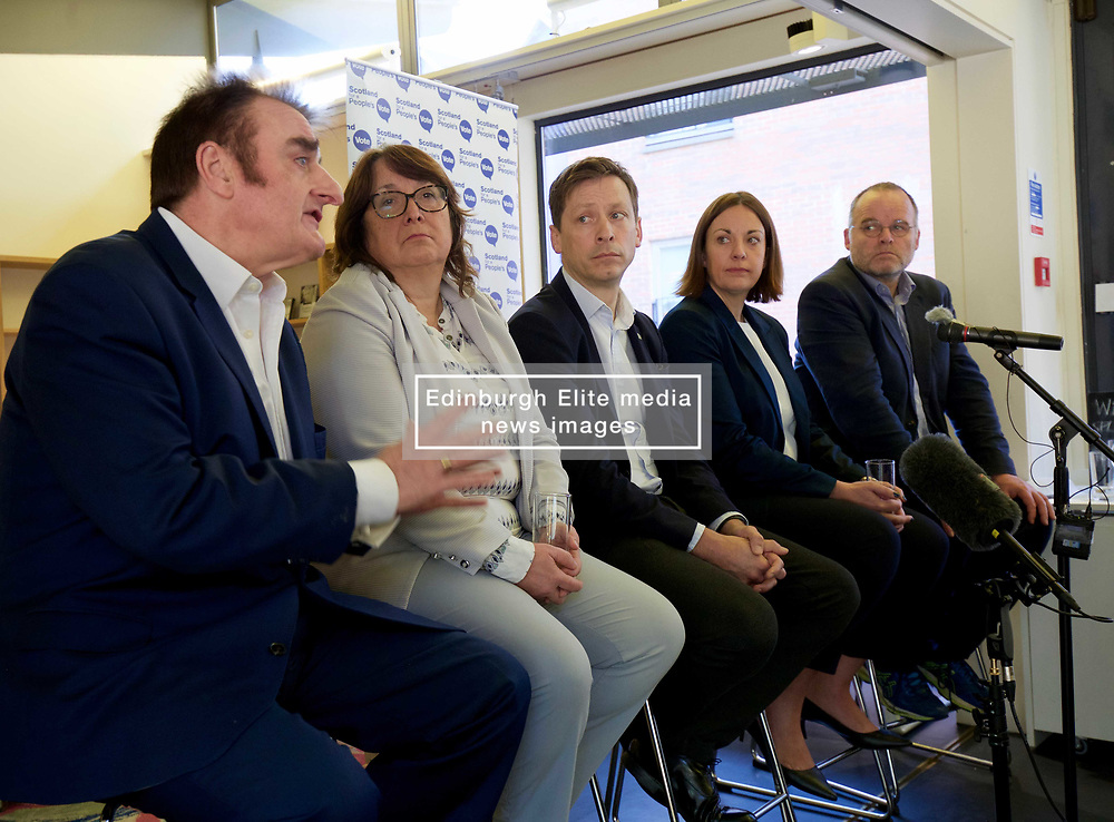 A cross-party group of parliamentarians gathered at the Scottish Poetry Centre in Edinbugh to push the case for a People's Vote. <br /> <br /> Left to right: Tommy Sheppard SNP MP; Christine Jardine, LibDem MP; John Edward, head of the European Parliament Office in Scotland; Kezia Dugdale Labour MSP; and Andy Wightman, Green MSP. <br /> <br /> Pic copyright Terry Murden @edinburghelitemedia