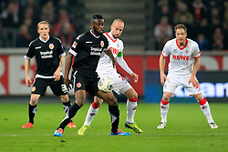 07.03.2014, Rhein- Energie Stadion, Koeln, GER, 2. FBL, 1. FC Koeln vs FC Energie Cottbus, 24. Runde, im Bild Boubacar Sanogo (FC Energie Cottbus #27) im Zweikampf gegen / tackling against Kapitaen Miso Brecko (1 FC Koeln #2), Aktion, Action // during the 2nd German Bundesliga 24th round match between 1. FC Cologne and FC Energie Cottbus at the Rhein- Energie Stadion in Koeln, Germany on 2014/03/07. EXPA Pictures © 2014, PhotoCredit: EXPA/ Eibner-Pressefoto/ Schueler<br /> <br /> *****ATTENTION - OUT of GER*****