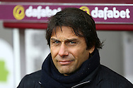 Chelsea Manager Antonio Conte looks on from the dugout. Premier league match, Burnley v Chelsea at Turf Moor in Burnley, Lancs on Sunday 12th February 2017.<br /> pic by Chris Stading, Andrew Orchard Sports Photography.