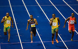 Asafa Powell of Jamaica, Tyson Gay of United States, Usain Bolt of Jamaica and Daniel Bailey of Antigua and Barbuda compete in the men's 100 Metres Final during day two of the 12th IAAF World Athletics Championships at the Olympic Stadium on August 16, 2009 in Berlin, Germany. (Photo by Vid Ponikvar / Sportida)