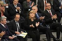 22 JAN 2013, BERLIN/GERMANY:<br /> Joachim Gauck, Bundespraesident, Francois Hollande, Staatspraesident Frankreich, Angela Merkel, CDU, Bundeskanzlerin, Jean-Marc Ayrault, Premierminister Frankreich, und Andreas Voßkuhle, Praesident des Bundesverfassungsgerichts, (v.L.n.R.), applaudieren waehrend der gemeinsamen Sitzung der Assemblee nationale und des Bundestages sowie der Regierungen, des Staatspraesidenten und des Bundespraesidenten anl. des 50. Jahrestages der Unterzeichnung des Elysee-Vertrages, Plenum, Deustcher Bundestag<br /> IMAGE: 20130122-01-006<br /> KEYWORDS: Assemblée nationale, Elysee-Vertrag, Elysée-Vertrag, François Hollande, Applaus, klatschen