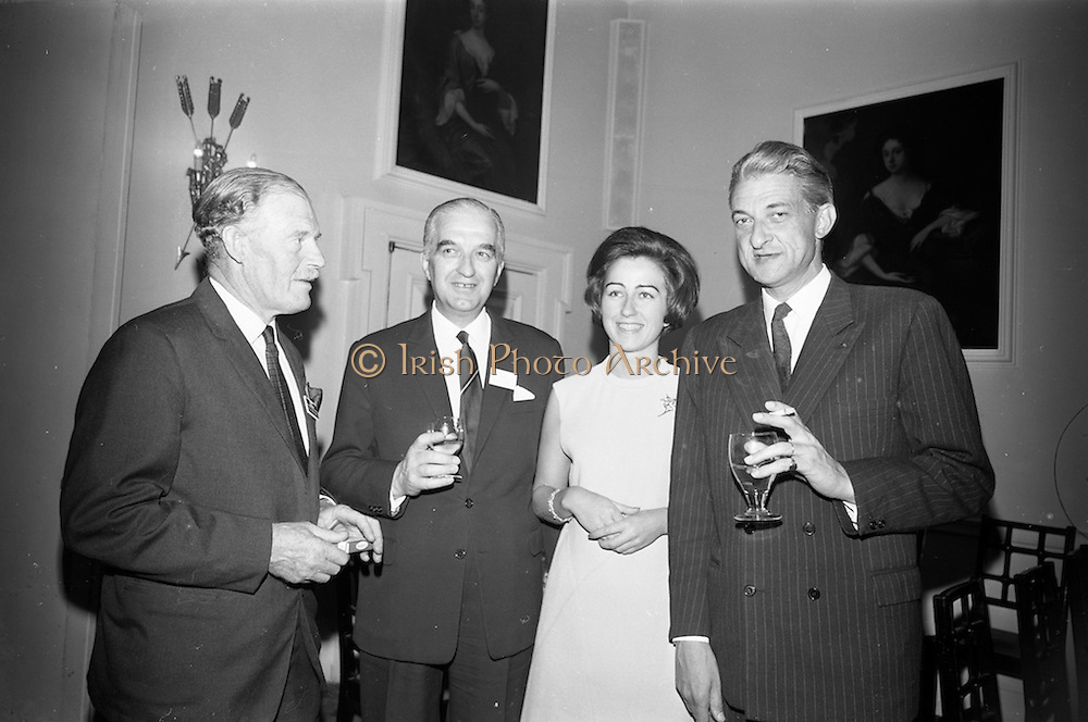 16/06/1967<br /> 06/16/1967<br /> 16 June 1967<br /> General Assembly of the Wine and Spirit Federation Farewell dinner at the Hibernian Hotel, Dublin, that ended the 1967 General Assembly of the Federation Internationale des Industries et du Commerce en Gros des Vines, Spiriteux, Eaux-de-vie, et Liqueurs, held in Dublin for the first time.<br /> Picture shows (l-R): Mr. Michael O'Reilly, PRO Irish Whiskey Distillers Asssociation; Mr Jean Glotin President of C.N.V.S. of France; Miss Chantal Glotin of France and Mr M. Mangenot, President Syndicat des Spiritueux a L'eau,of France chatting at the reception prior to the dinner.