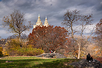 Stormy clouds over Central Park with a view of the twin towers of San Remo.
