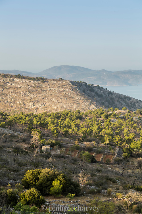 Seaside rural landscape under clear sky near Avgonyma, Chios, Greece