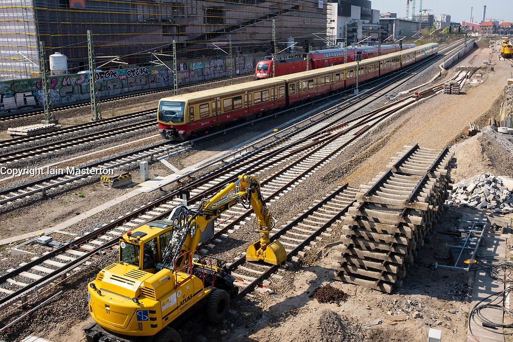 Railway track construction at Friedrichshain in central Berlin , Germany