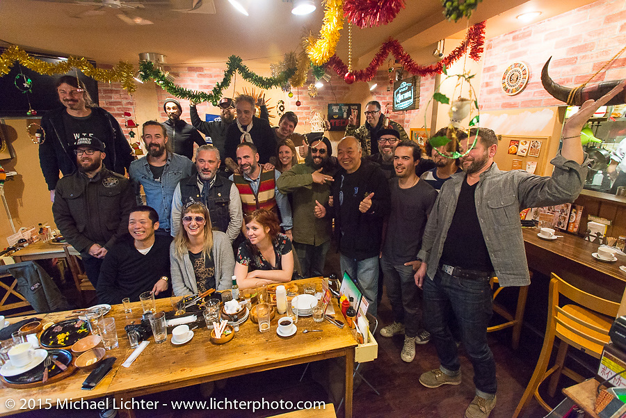 Group photo after lunch during a Tokyo shop tour after Mooneyes. Japan. December 8, 2015.  Photography ©2015 Michael Lichter.