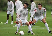 Photo: Paul Thomas.<br /> England training at Carrington. 30/08/2006. <br /> <br /> <br /> Owen Hargreaves (L) and John Terry.