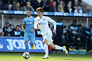 Ki Sung-Yueng of Swansea city in action.Premier league match, Swansea city v Stoke City at the Liberty Stadium in Swansea, South Wales on Saturday 22nd April 2017.<br /> pic by Andrew Orchard, Andrew Orchard sports photography.