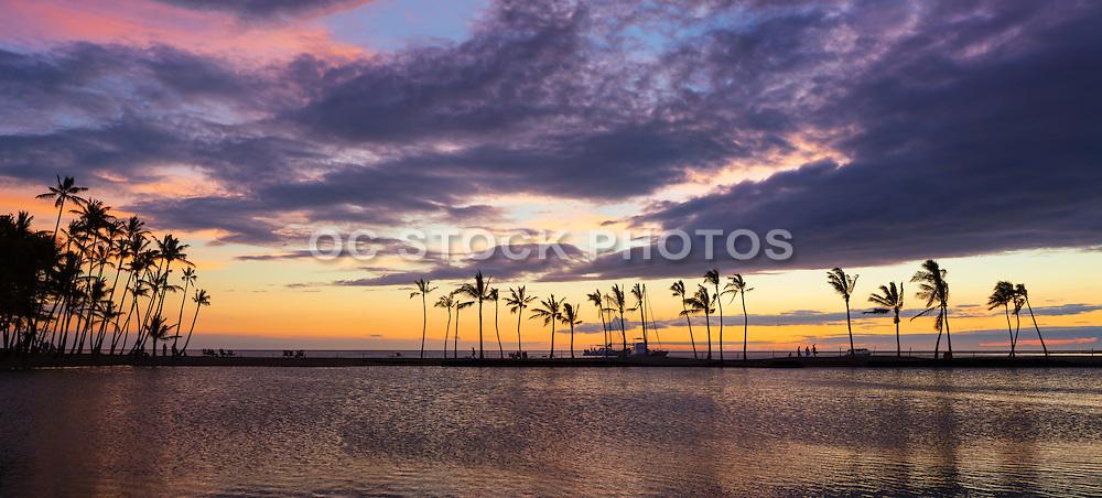Sunset on Kuu Alii Fishpond at Wiakoloa Beach Hawaii