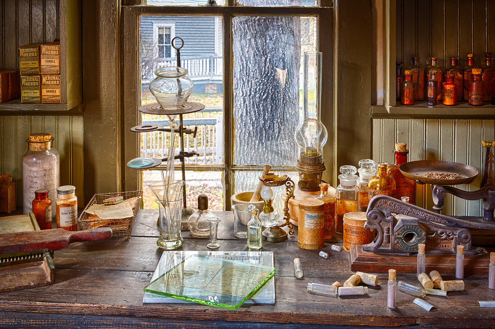 Vintage pharmacy in Dallas, Texas.  This is where the pharmacist prepared the medicines.