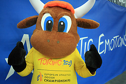 Official Mascotte at the 2nd day of  European Athletics Indoor Championships Torino 2009 (6th - 8th March), at Oval Lingotto Stadium,  Torino, Italy, on March 6, 2009. (Photo by Vid Ponikvar / Sportida)