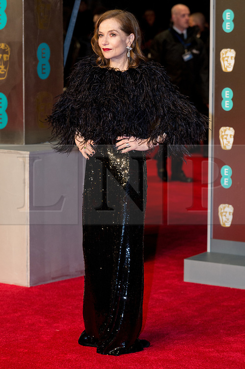 © Licensed to London News Pictures. 18/02/2018. ISABELLE HUPPERT arrives on the red carpet for the EE British Academy Film Awards 2018, held at the Royal Albert Hall, London, UK. Photo credit: Ray Tang/LNP
