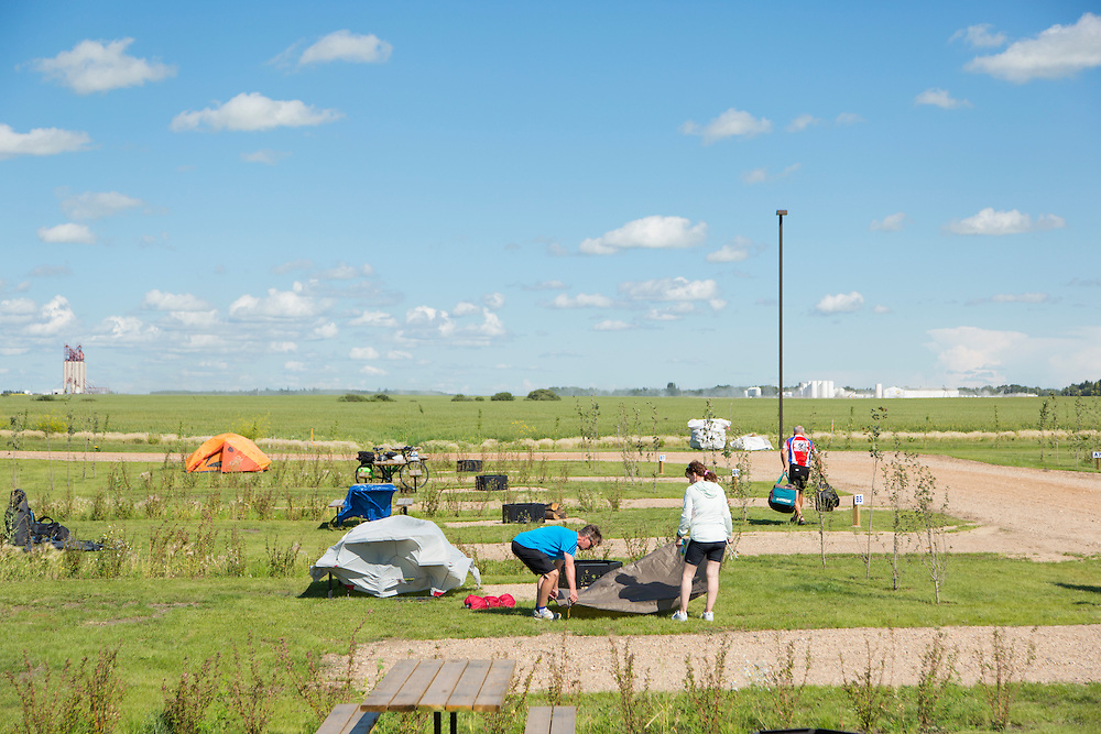Setting up camp, Lions Heritage Campground, Tisdale, end of Day 5.