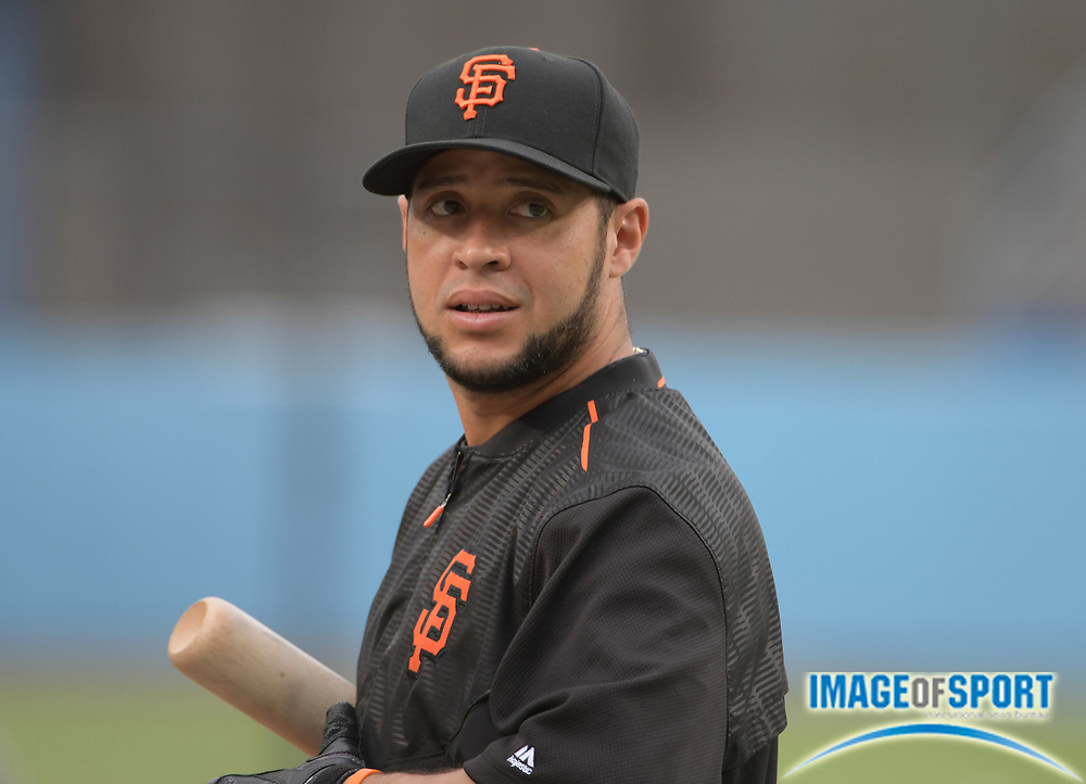 Sep 19, 2016; Los Angeles, CA, USA; San Francisco Giants right fielder Gregor Blanco (7) during against the Los Angeles Dodgers a MLB game at Dodger Stadium.