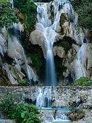 Image of Kuang Si Waterfall park, near Luang Prabang, Laos, on an overcast day.