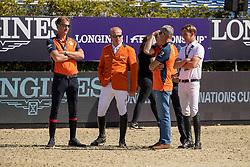 Team Netherlands, Houtzager Marc, Greve Willem, Van der Vleuten Eric, Ehrens Rob, Bles Bart<br /> FEI Jumping Nations Cup Final<br /> Barcelona 2019<br /> © Hippo Foto - Dirk Caremans<br />  03/10/2019