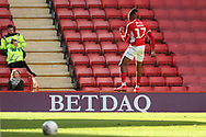Charlton Athletic midfielder Joe Aribo (17) celebrating after scoring goal to make it 1-0during the EFL Sky Bet League 1 match between Charlton Athletic and Rochdale at The Valley, London, England on 4 May 2019.
