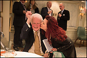 BRIAN SEWELL; CLEO ROCOS, Fortnum and Mason and Quartet books host a celebration for the publication of  The White Umbrella by Brian Sewell. Illustrated by Sally Ann Lasson. Fortnum and Mason. Piccadilly. London. 3 March 2015.