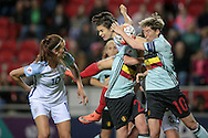 Chaos in the Belgium box as the England corner comes in, with Jill Scott (England) waiting for the ball to drop and score England's equaliser, 1-1 during the Euro 2017 qualifier between England Ladies and Belgium Ladies at the New York Stadium, Rotherham, England on 8 April 2016. Photo by Mark P Doherty.