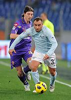 Fotball<br /> Italia<br /> Foto: Insidefoto/Digitalsport<br /> NORWAY ONLY<br /> <br /> cristian brocchi (lazio) e riccardo montolivo (fiorentina)<br /> <br /> 29.01.2011<br /> Lazio Vs Fiorentina