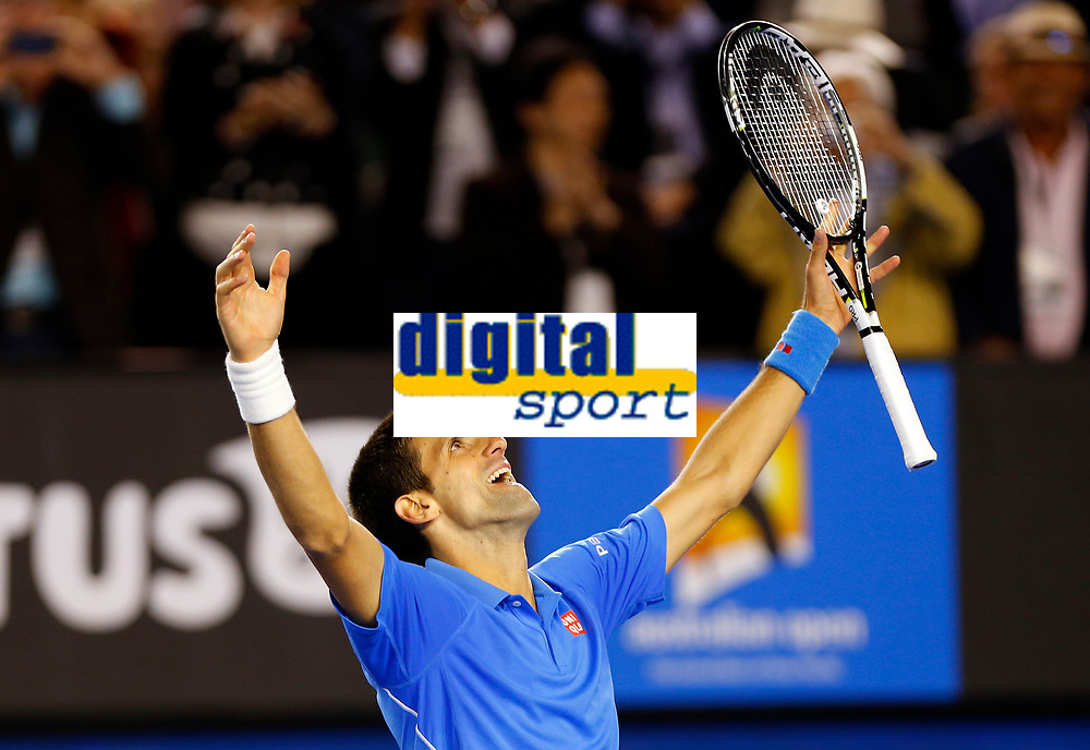 Novak Djokovic of Serbia celebrates during the final of the Australian Open 2015 Grand Slam, Tennis match day 14, on February 1, 2015 in Melbourne, Australia. Photo Ella Ling / Backpage Images / DPPI