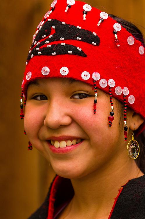 Group of Tsimshian dancers (Lepquimn Gumilgit Gagoadim) at the Alaska Native Heritage Center, Anchorage, Alaska