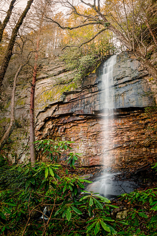 Nestled among the rhodendron's, the falls on Craigs Branch appear like an oasis after an arduous hike in the New River Gorge, plunging over 60 feet from the sheer vertical sandstone cliffs as it journeys another half a mile to the New River itself. West Virginia, USA.