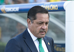 July 23, 2017 - Pasadena, California, U.S - Coach, Luis Pompilio Paez of Mexico during their game with Jamaica in the Gold Cup Semifinal game at the Rose Bowl in Pasadena, California on Sunday July 23, 2017. Jamaica defeats Mexico, 1-0. (Credit Image: © Prensa Internacional via ZUMA Wire)
