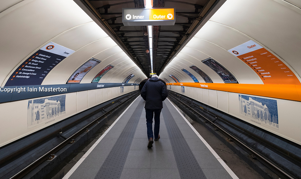 View of platform on Glasgow subway system, Scotland, United Kingdom