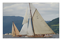 The Race in Class one came down to two boast Mikado and The Lady Anne. Here The Lady Anne passes to leeward of Mikado off Strone point in the Upper Clyde on the way to Rothesay...This the largest gathering of classic yachts designed by William Fife returned to their birth place on the Clyde to participate in the 2nd Fife Regatta. 22 Yachts from around the world participated in the event which honoured the skills of Yacht Designer Wm Fife, and his yard in Fairlie, Scotland...FAO Picture Desk..Marc Turner / PFM Pictures