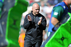 Leicester Tigers backs coach Paul Burke encourages his players during the pre-match warm-up - Photo mandatory by-line: Patrick Khachfe/JMP - Tel: Mobile: 07966 386802 - 08/09/2013 - SPORT - RUGBY UNION - Welford Road Stadium - Leicester Tigers v Worcester Warriors - Aviva Premiership.