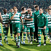 Bursaspor's players celebrate victory during their Turkish soccer super league match Bursaspor between Besiktas at Ataturk Stadium in Bursa Turkey on Monday, 08 April 2013. Photo by TURKPIX