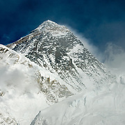 The summit of Everest rises from the clouds as seen from the top of Kala Pattar, Solu-Khumbu Region, Nepal.