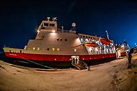 Hurtigruten ship MS Vesteralen docked at Molde, Norway at dusk.