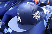 Los Angeles Dodgers baseball caps at the Dodger Day Drive-Thru at Belvedere Park, Tuesday, June 30, 2020, in Los Angeles. The event was hosted by The Los Angeles Dodgers Foundation, which distributed food boxes, books, sports equipment, clothing, toys and hygiene supplies to more than 1,000 registered youth from the Boyle Heights, East Los Angeles, La Puente and Monterey Park communities.
