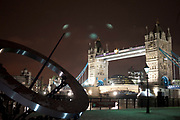 Night scene of Tower Bridge in London on a cold winter evening.