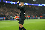 GOAL - Kylian Mbappe of Paris Saint-Germain celebrates the goal of Juan Bernat of Paris Saint-Germain (not in picture) 1-1 during the Champions League Round of 16 2nd leg match between Paris Saint-Germain and Manchester United at Parc des Princes, Paris, France on 6 March 2019.