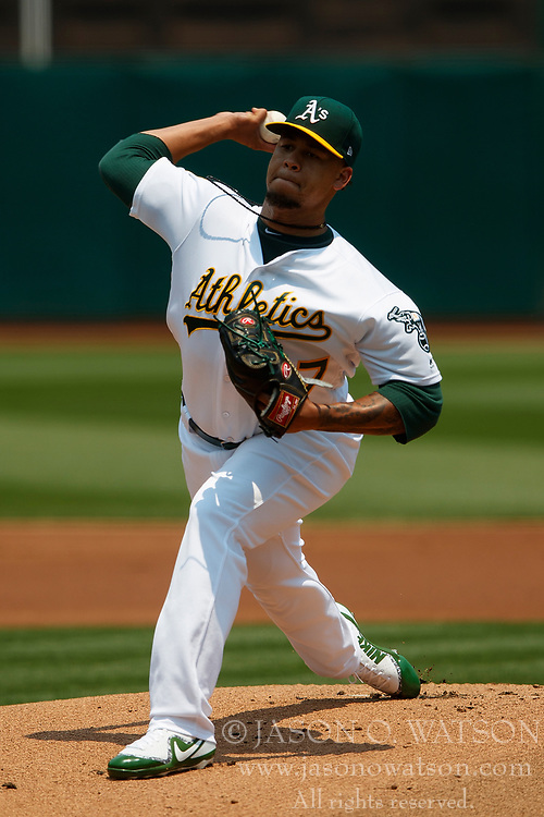 OAKLAND, CA - JULY 01:  Frankie Montas #47 of the Oakland Athletics pitches against the Cleveland Indians during the first inning at the Oakland Coliseum on July 1, 2018 in Oakland, California. (Photo by Jason O. Watson/Getty Images) *** Local Caption *** Frankie Montas