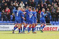 Mike Jones of Oldham Athletic his opening goal of the game celebrates  during the Sky Bet League 1 match between Oldham Athletic and Chesterfield at Boundary Park, Oldham, England on 28 March 2016. Photo by Simon Brady.