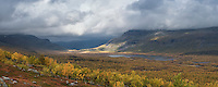 Panoramic view over autumn mountain landscape, Kungsleden trail, Lapland, Sweden